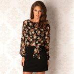 ClubL Rochie eleganta, de culoare neagra, cu imprimeu floral delicat-ClubL