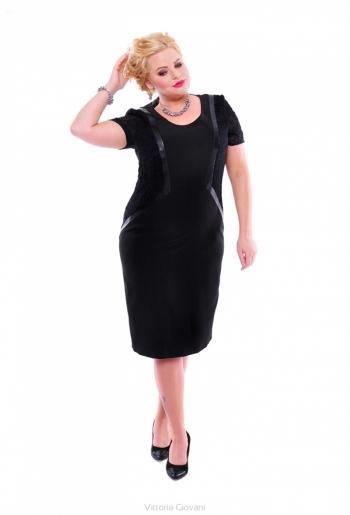 Rochie neagra cu insertie de dantela eleganta