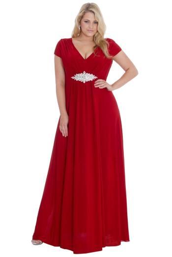 Rochie de seara, rosie, cu bijuterie din cristale in talie