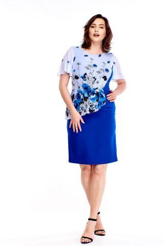 Rochie eleganta, albastra, cu imprimeu floral