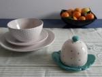 Set pentru servirea mesei - ceramica, buline, bej, turcoaz